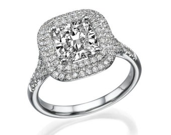 2 Ct halo diamond engagement ring platinum cushion E vs2 model jr-dbl-cu