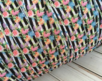 """Black and White Stripes with Florals 5/8"""" Fold Over Elastic - 1, 3 or 5 Yards"""