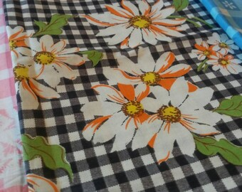 Vintage 3 Piece Set of Gingham Floral Border Print Fabrics 3 Yards