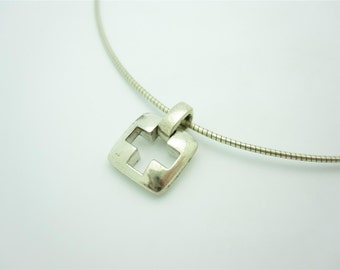 Tiffany & Co. Sterling Silver Stencil Cross Pendant Wire Necklace 15""