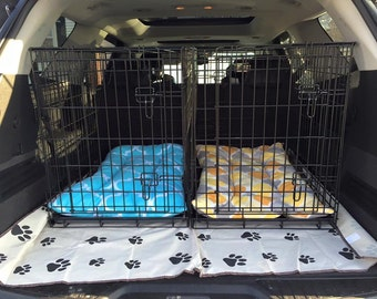 """EXTRA PADDED FLEECE crate pads. Over 1"""" of padding! Available in standard and custom sizes available. Color, pattern and material options av"""