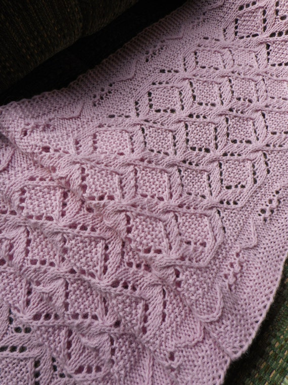 Knit Scarf Pattern Cables and Lace Worsted Weight yarn