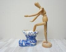 Blue white vase pot planter boot shoe Vintage Made in Holland Retro porcelain decor royal flower floral Netherlands Dutch Delft style