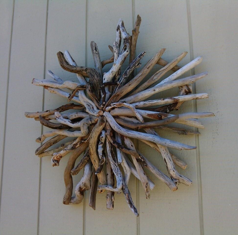 Driftwood wall hanging sculpture beach wall by for Driftwood wall