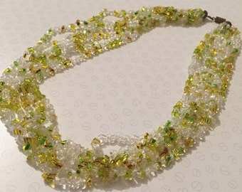 Vintage 1950s Yellow And Green Multi Strand Czech Glass Necklace