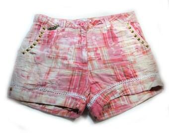 Pink shorts, high waisted shorts, bleached shorts,tattered shorts , grunge shorts,  size 6,  # 66