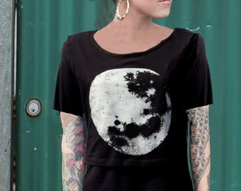 Luna short sleeve black nursing top, breastfeeding top - Hand printed