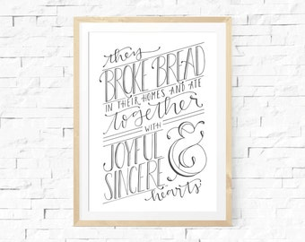 Typography Print, Kitchen Print, Handlettered Scripture Print, Breaking Bread Quote, Handlettered Home Decor, Black and White Kitchen Art