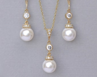 Gold Jewelry set, Pearl Bridal Jewelry Set, Ivory Pearl Earrings & Pearl Necklace set, MILLY Gold