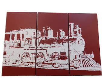 Vintage Rustic Distressed TRAIN Wall Art TRANSPORTATION Art