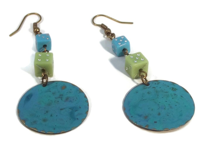 Hand Painted Aqua Blue & Green Dragon Scales with Dice Shoulder Duster Earrings, Nickle Free Ear Wires, Hypo Allergenic