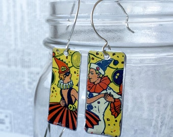 Upcycled tin rectangle earrings made from a vintage tin toy