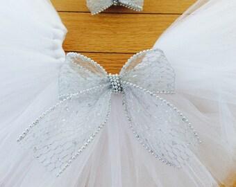 white tutu, white baby tutu with silver bow, newborn tutu, white newborn tutu, silver bow, infant tutu, birthday tutu, Christmas tutu