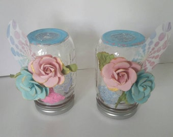 Floral LED Mason Jar Lights, 1 each.