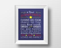 PRINTABLE A True Superhero Print, 8x10, Digital Download, Printable, Wall Art