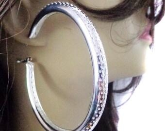 Large Hoop Earrings Silver tone 3.5 inch Hoop Earrings Pipe Hoop Earrings Fashion Hoops