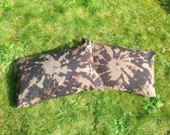 Black and Brown Tie-Dye Pillow Cases (Pair)