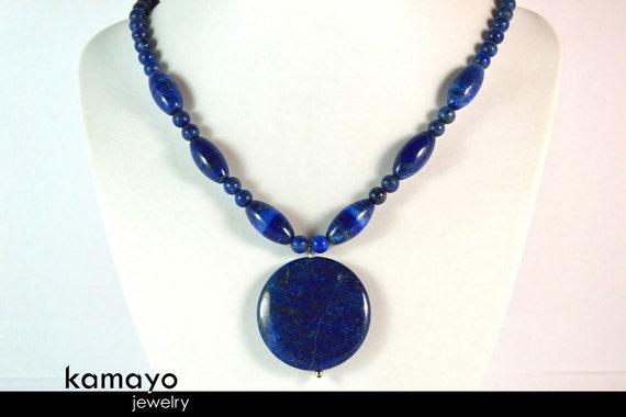 LAPIS LAZULI NECKLACE - Huge Blue Pendant and Large Olive-shaped Beads