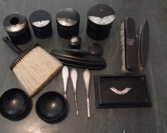 Edwardian Silver and Ebony Dressing 16 Piece  Table Set Antique Silver and Ebony Vanity Set Antique Silver and Ebony Boudoir Vanity Set