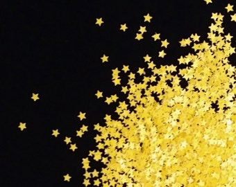 solvent-resistant glitter shapes-bright yellow extra-small stars