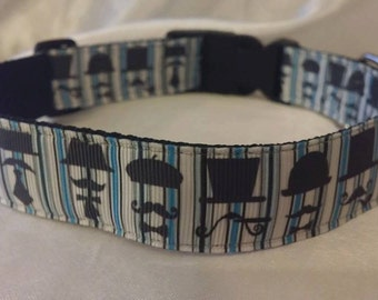 Handmade Dog Collar-Mustaches (Matching Lead Available)