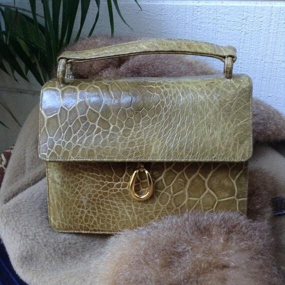 BIENEN DAVIS Turtleskin Handbag Greenish Tan Top Handle
