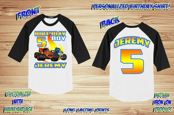 Blaze Monster Truck Raglan front and back Shirt  ~ Truck Birthday Shirt PERSONALIZED ~ Custom