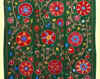gorgeous uzbek silk hand-embroidery suzani from bukhara a7065