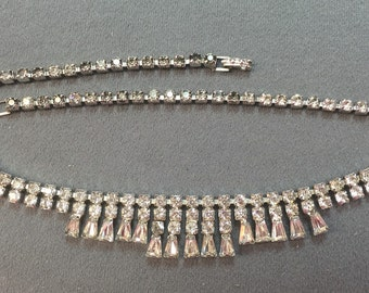 Glam Vintage Rhinestone Necklace with Tapered Baguettes.  Free shipping