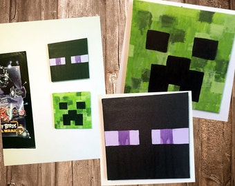 Set of 2 12x12 Minecraft Canvas Abstract Art Painting Creeper Enderman Room Decor