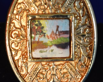 Raffine Signed Gold Oval Shape Brooch Pin with painted picture in center ships in 24 Hrs