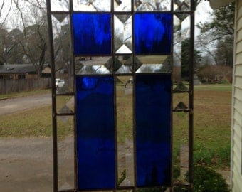 Stained Glass Bevel Cross 7x11 in a Beautiful Royal Blue Stained Glass