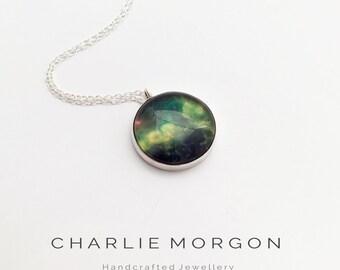 Green Galaxy Necklace - Ready To Post - Silver Galaxy Pendant/Galaxy Jewelry Gift/Nebula Pendant/Space pendant Galaxy/Outer Space Pendant