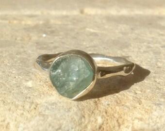 Raw Stone Ring, US 7.75, Raw Apatite Ring, Apatite Silver Ring, Rough Natural Gemstone Ring, Natural Apatite Gemstone Silver Ring