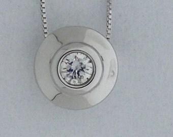 Genuine Diamond Solitaire Pendant 14kt White Gold