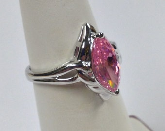 Pink Cubic Zirconia Cluster Ring 925 Sterling Silver