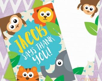 8 X Personalised JUNGLE SAFARI Mini Thank You Card Stationary * Tiger * Elephant * Lion * Monkey
