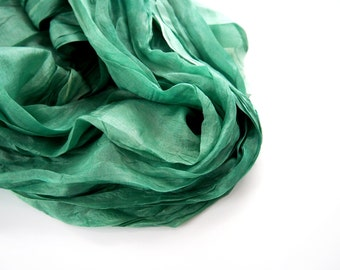 Ever Green Silk Scarf, Hand Dyed, Travel Shawl, Mens Womens, Green Scarf, Extra Large Long Scarf, Fall Winter, Emerald Blue Green, Gift