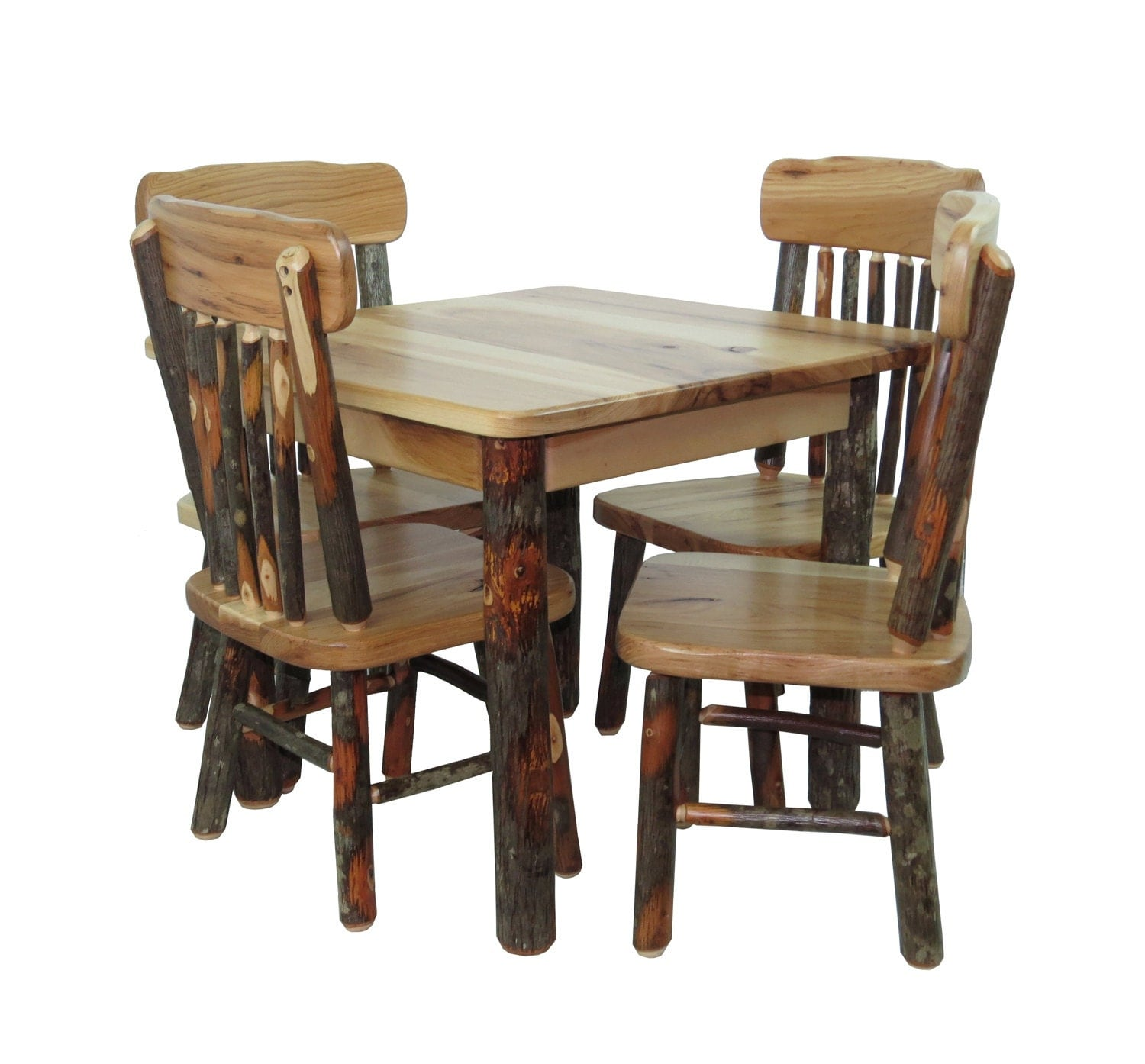 Child's Rustic All Hickory Table With 4 Chairs