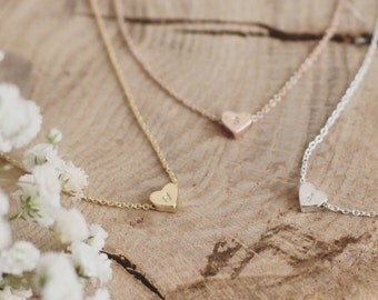 Monogram necklace, set of 1,2,3, bridesmaid jewelry, Christmas gift, gold, rose gold, sterling silver necklaces, initials, name, heart