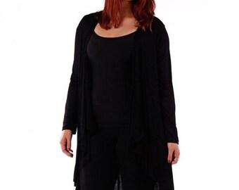 Womens Plus Size Cardigan Maxi Open Front Waterfall Jacket Hand Made USA 1X-2X-3X-4X-5X-6X
