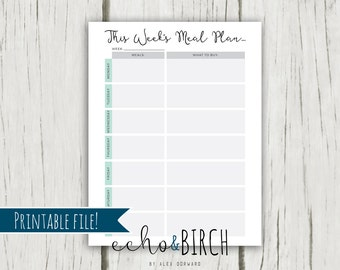 PRINTABLE Meal Planner Organization Page   THREE sizes!   Instant Download   Printable Stationery & Planner Supplies