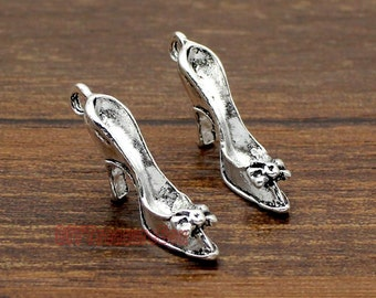 20pcs--High Heel Shoe Charms, Antique Silver 3D High Heeled Shoes Charm Pendant  25X12X5mm