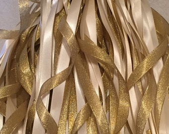 100 Wedding Wands/Wedding Ribbon Wands/Wedding Wand/Wedding Streamers/Ivory and Gold Metallic with Gold bells