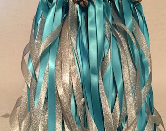 50 Metallic Wedding Wands/Wedding Ribbon Wands/Wedding Wand/Turquoise and Silver Metallic
