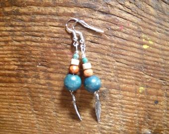 natural boho feather earrings
