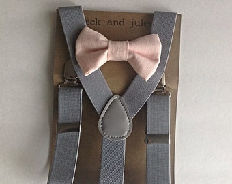 Boys suspenders with solid pink linen clip on bow tie