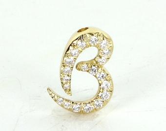 Kurt Wayne c1976 Letter B Initial Diamond Pendant Vintage 18 Karat Gold Estate