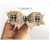 Gingham bow, gingham ribbon hair clip, black and white gingham hair clip, light gold glitter hair clip, headbands for girls, bows for school