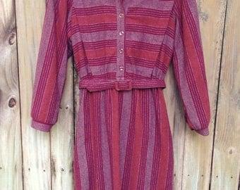 K.C. Petites Wool Dress (6P). Wool Dress. Striped Dress. Vintage Dress.